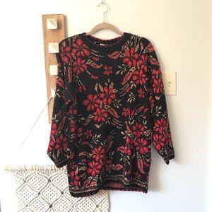 Vintage Dana Scott Shimmer Floral Holiday Sweater